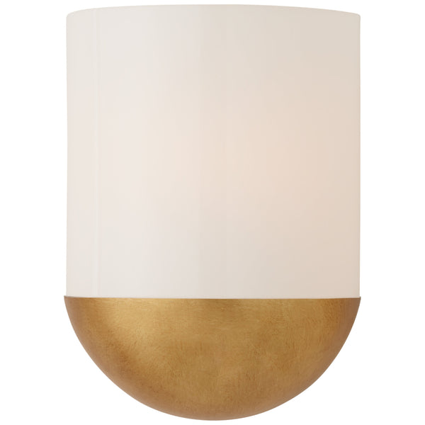 Visual Comfort BBL 2155G-WG Barbara Barry Modern Crescent Small Sconce in Gild with White Glass