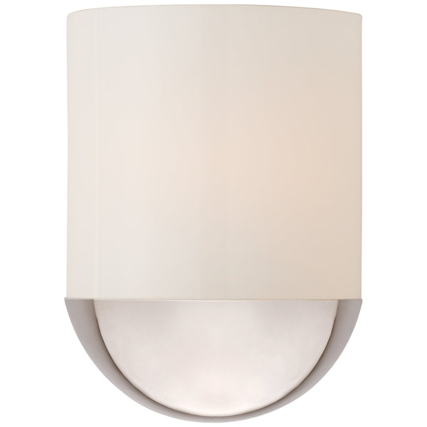 Visual Comfort BBL 2155PN-WG Barbara Barry Modern Crescent Small Sconce in Polished Nickel with White Glass