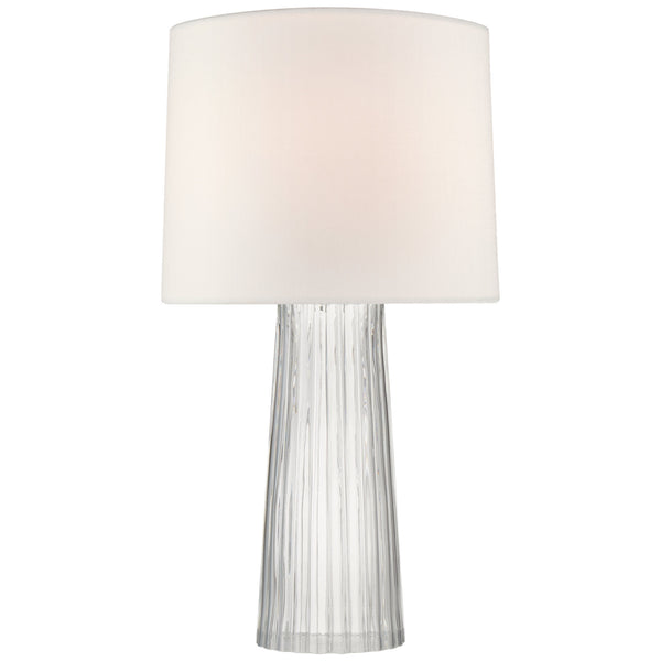 Visual Comfort BBL 3120CG-L Barbara Barry Modern Danube Medium Table Lamp in Clear Glass with Linen Shade