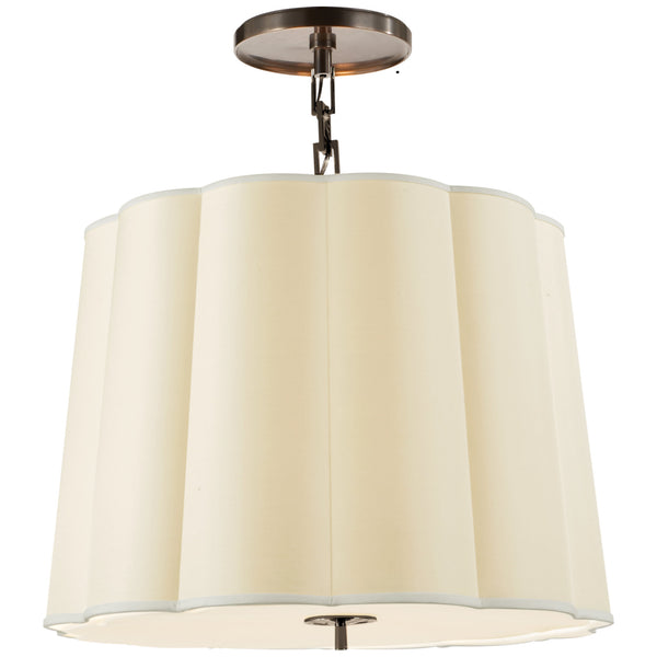 Visual Comfort BBL 5015BZ-S Barbara Barry Modern Simple Scallop Large Hanging Shade in Bronze with Silk Shade
