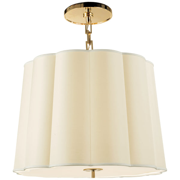 Visual Comfort BBL 5015SB-S Barbara Barry Modern Simple Scallop Large Hanging Shade in Soft Brass with Silk Shade