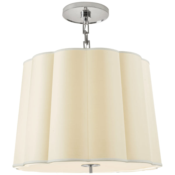 Visual Comfort BBL 5015SS-S Barbara Barry Modern Simple Scallop Large Hanging Shade in Soft Silver with Silk Shade