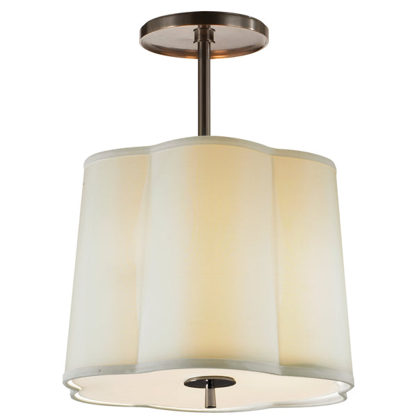 Visual Comfort BBL 5016BZ-S Barbara Barry Modern Simple Scallop Hanging Shade in Bronze with Silk Shade