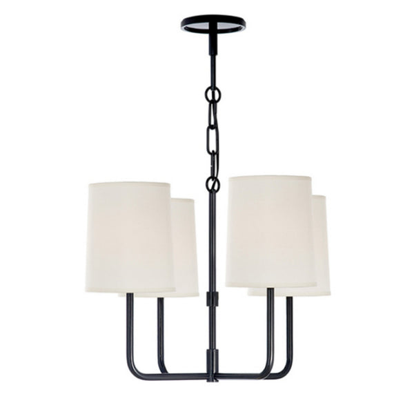 Visual Comfort BBL 5080C-S Barbara Barry Modern Go Lightly Small Chandelier in Charcoal with Silk Shades