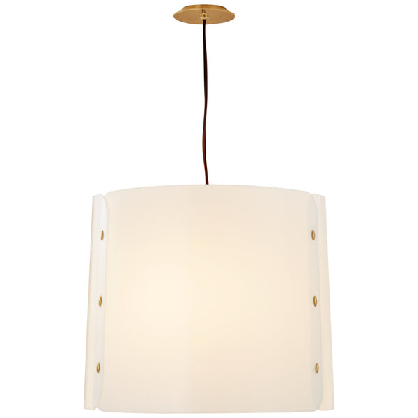Visual Comfort BBL 5118SB-WA Barbara Barry Modern Dapper Medium Hanging Shade in Soft Brass with White Acrylic Shade