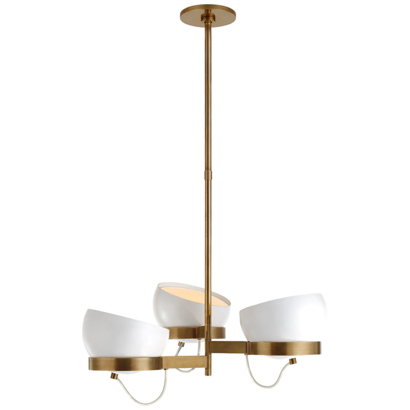 Visual Comfort BBL 5150SB-WHT Barbara Barry Lightwell Medium Triple Chandelier in Soft Brass