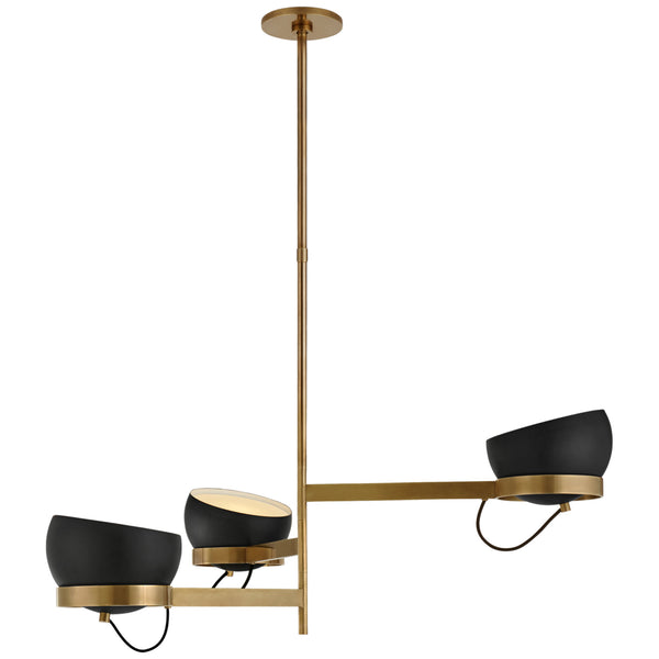 Visual Comfort BBL 5151SB-BLK Barbara Barry Modern Lightwell Grande Triple Chandelier in Soft Brass with Black Shades