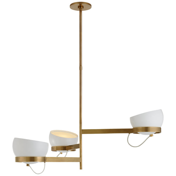 Visual Comfort BBL 5151SB-WHT Barbara Barry Modern Lightwell Grande Triple Chandelier in Soft Brass with White Shades