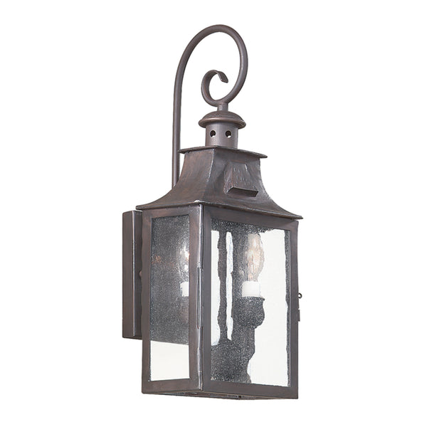 Troy Lighting BCD9001OBZ Newton 2lt Wall Lantern Small in Hand-Forged Iron