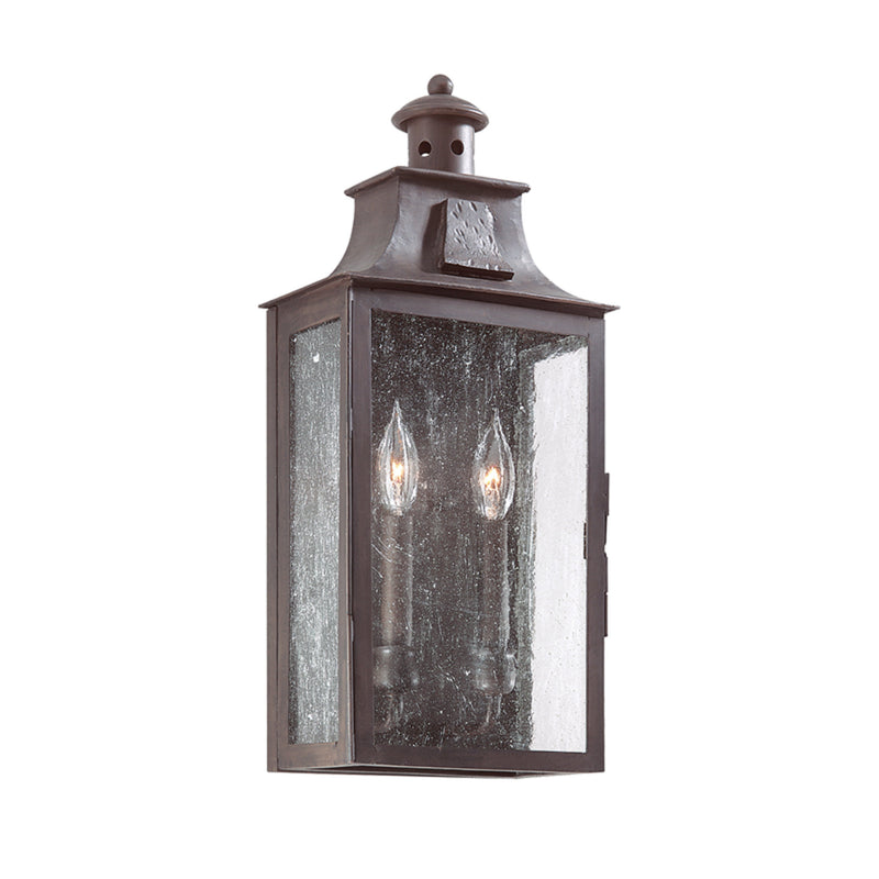 Troy Lighting BCD9008OBZ Newton 2lt Wall Pocket Lantern Medium in Hand-Forged Iron