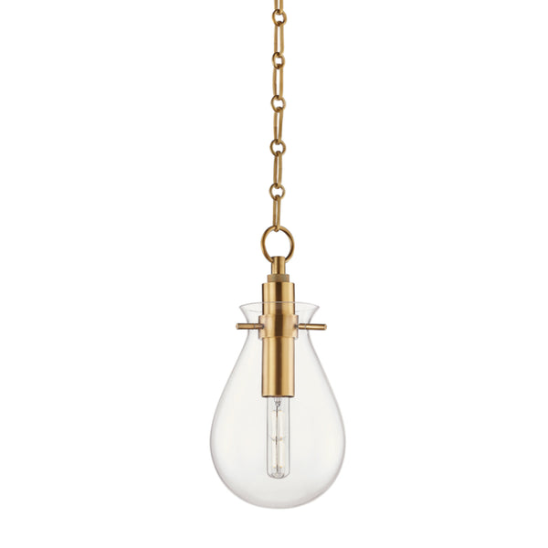 Hudson Valley Lighting BKO101-AGB Ivy 1 Light Small Pendant in Aged Brass