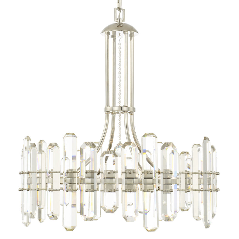Crystorama BOL-8888-PN Bolton Chandelier in Polished Nickel