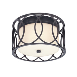 Troy Lighting C1280DB Sausalito 2lt Ceiling Flush - Deep Bronze in Hand-Worked Iron