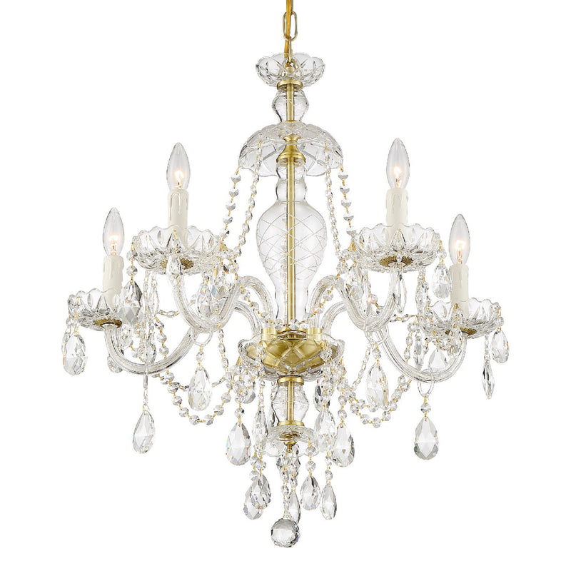 Crystorama CAN-A1305-PB-CL-SAQ Candace Chandelier in Polished Brass