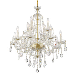 Crystorama CAN-A1312-PB-CL-MWP Candace Chandelier in Polished Brass