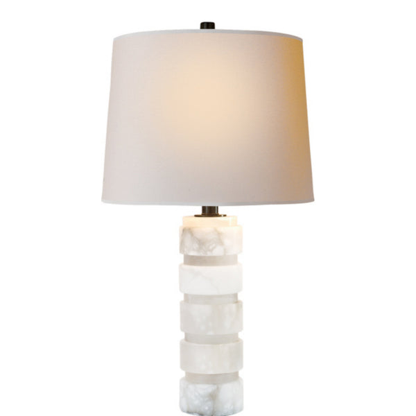 Visual Comfort CHA 8945ALB-NP Chapman & Myers Round Chunky Stacked Table Lamp in Alabaster