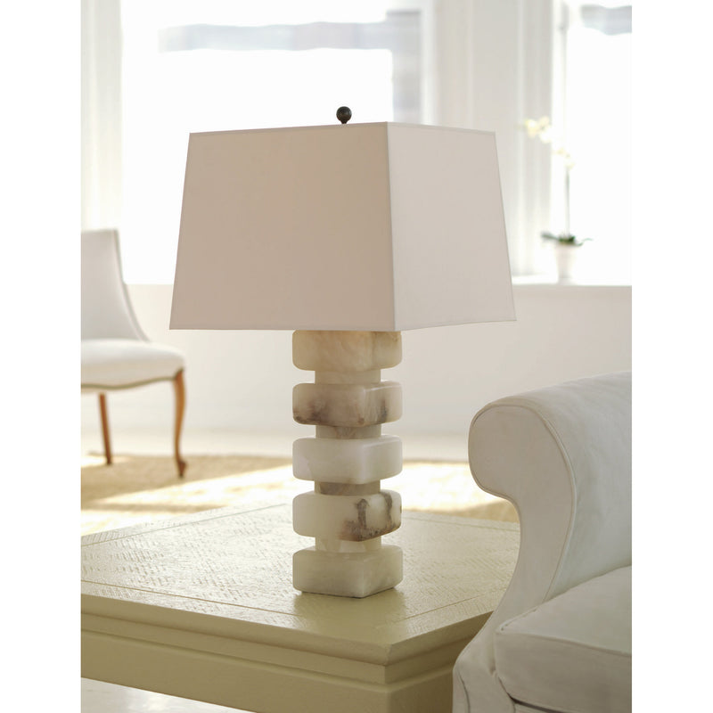 Visual Comfort CHA 8947ALB-NP Chapman & Myers Square Chunky Stacked Table Lamp in Alabaster