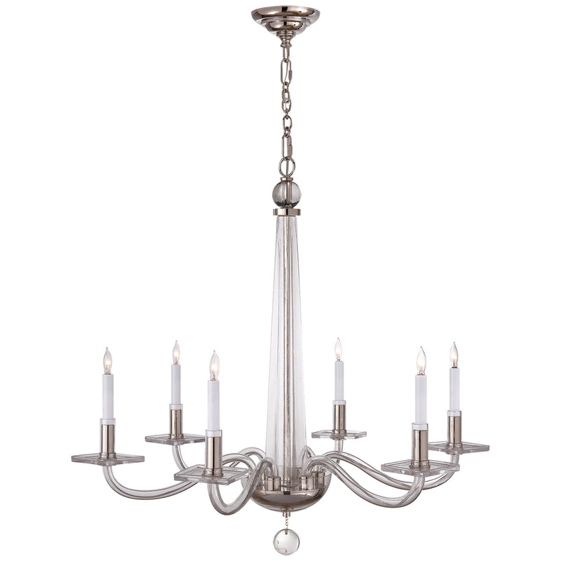 Visual Comfort CHC 1140PN Chapman & Myers Robinson Medium Chandelier in Polished Nickel and Clear Glass