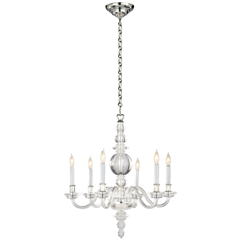 Visual Comfort CHC 1155CG/PN Chapman & Myers George II Small Chandelier in Crystal with Polished Nickel