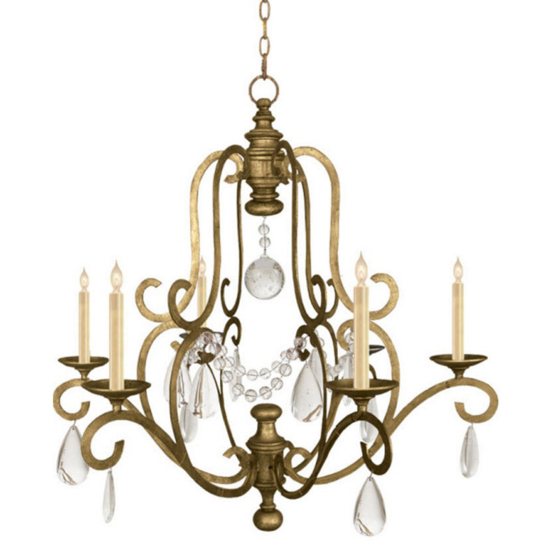 Visual Comfort CHC 1420GI-SG Chapman & Myers Piedmont Chandelier in Gilded Iron
