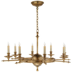 Visual Comfort CHC 1447AB Chapman & Myers Leaf and Arrow Large Chandelier in Antique-Burnished Brass