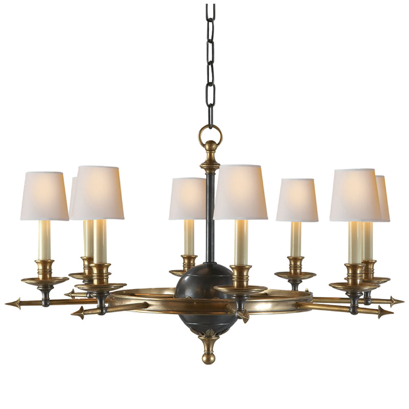 Visual Comfort CHC 1447BZ/AB Chapman & Myers Leaf and Arrow Large Chandelier in Bronze with Antique Brass