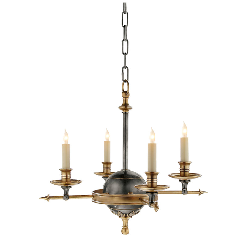 Visual Comfort CHC 1448BZ/AB Chapman & Myers Leaf and Arrow Small Chandelier in Bronze with Antique Brass