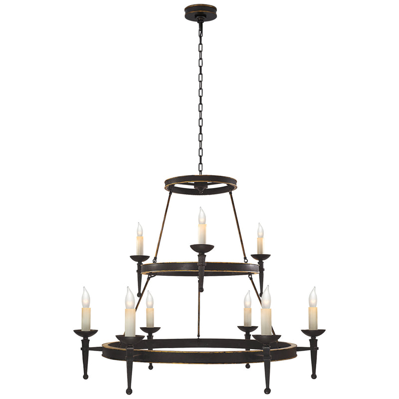 Visual Comfort CHC 1462WI Chapman & Myers Dorset Large Torch Chandelier in Weathered Iron