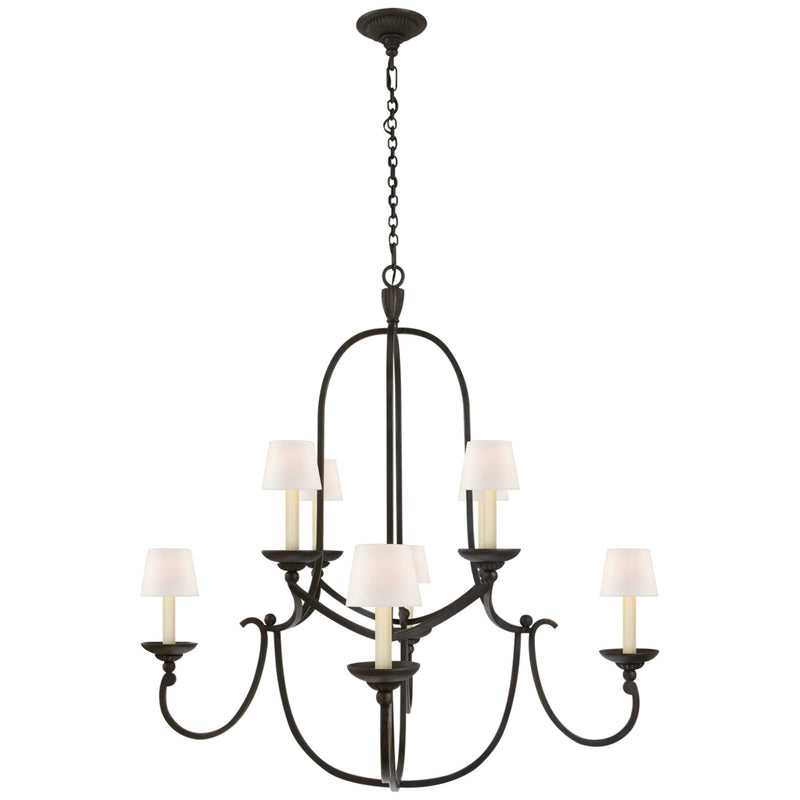Visual Comfort CHC 1494AI-L Chapman & Myers Flemish Medium Round Chandelier in Aged Iron