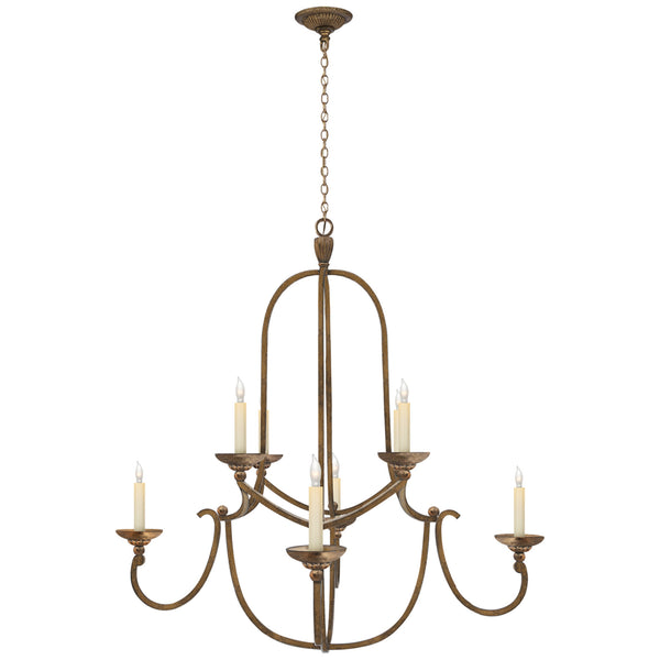 Visual Comfort CHC 1494GI Chapman & Myers Casual Flemish Medium Round Chandelier in Gilded Iron