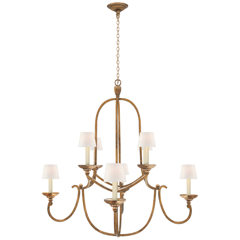 Visual Comfort CHC 1494GI-L Chapman & Myers Flemish Medium Round Chandelier in Gilded Iron