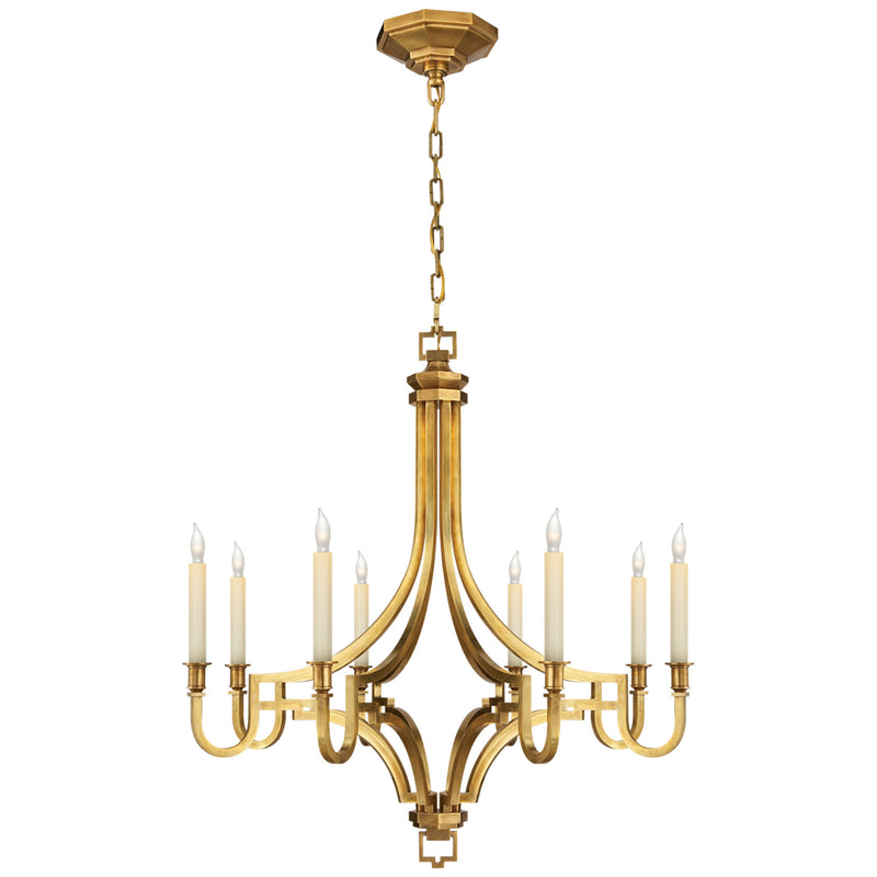 Visual Comfort CHC 1561AB Chapman & Myers Mykonos Small Chandelier in Antique-Burnished Brass