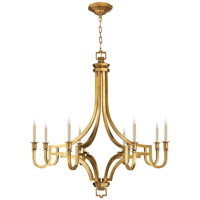 Visual Comfort CHC 1562AB Chapman & Myers Mykonos Large Chandelier in Antique-Burnished Brass