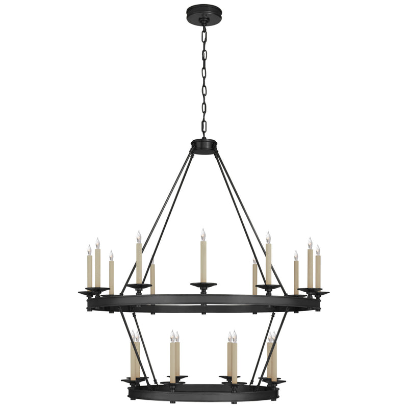 Visual Comfort CHC 1607BZ Chapman & Myers Launceton Large Two Tiered Chandelier in Bronze