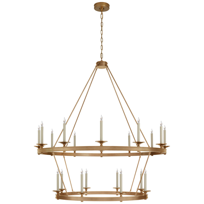 Visual Comfort CHC 1608AB Chapman & Myers Launceton Grande Two Tiered Chandelier in Antique-Burnished Brass