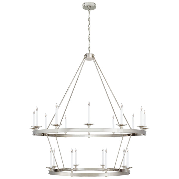 Visual Comfort CHC 1608PN Chapman & Myers Launceton Grande Two Tiered Chandelier in Polished Nickel