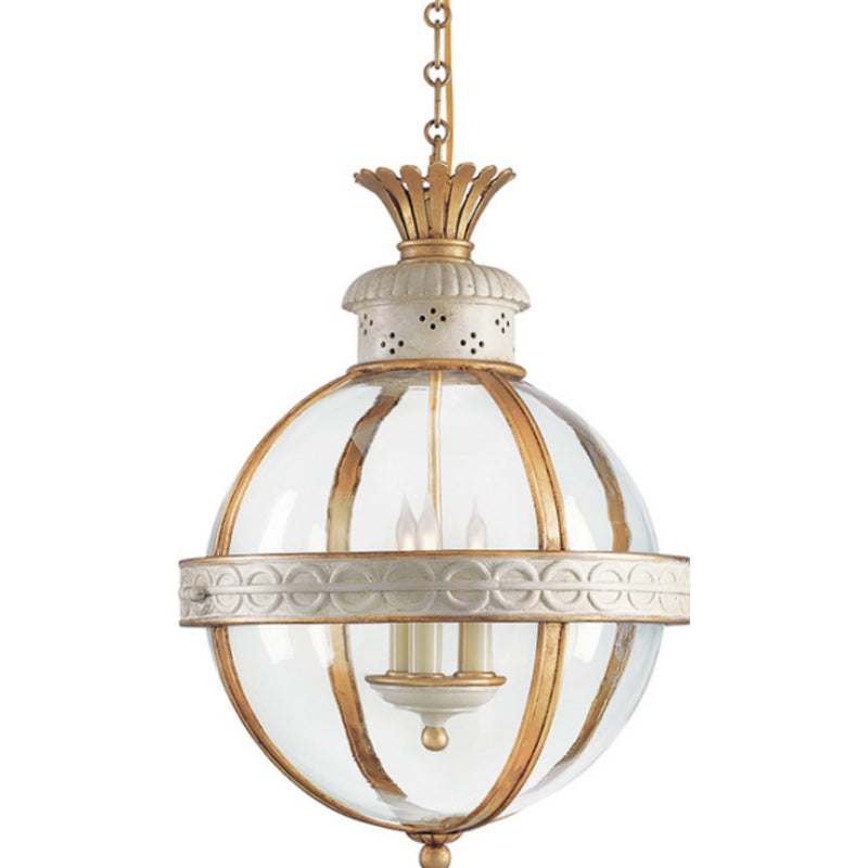 Visual Comfort CHC 2111AW-CG Chapman & Myers Crown Top Banded Globe Lantern in Antique White