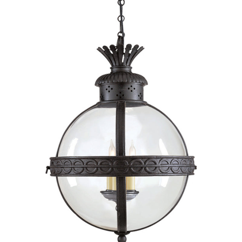 Visual Comfort CHC 2111BR-CG Chapman & Myers Crown Top Banded Globe Lantern in Blackened Rust