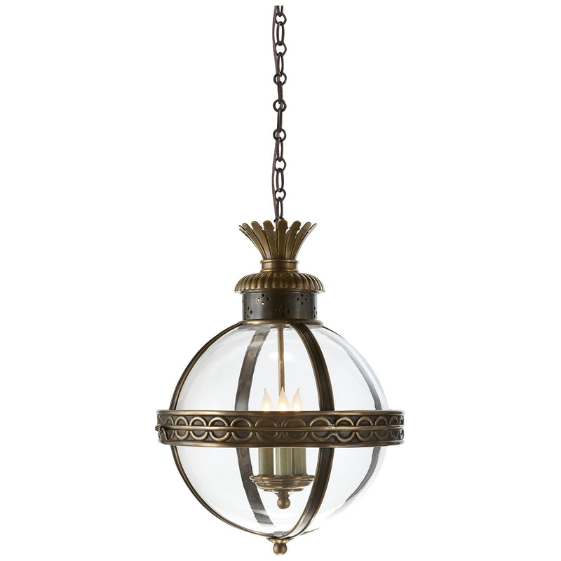 Visual Comfort CHC 2111BZ/AB-CG Chapman & Myers Crown Top Banded Globe Lantern in Bronze with Antique Brass
