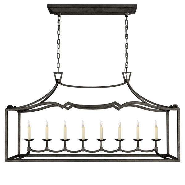 Visual Comfort CHC 2183AI Chapman & Myers Fancy Darlana Large Linear Pendant in Aged Iron