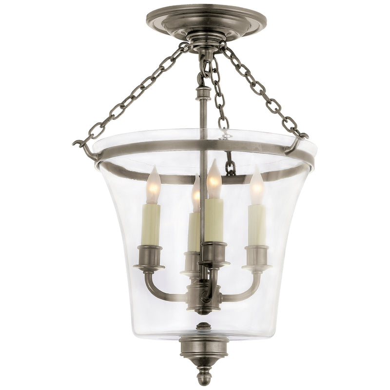 Visual Comfort CHC 2209AN Chapman & Myers Sussex Semi-Flush Bell Jar Lantern in Antique Nickel