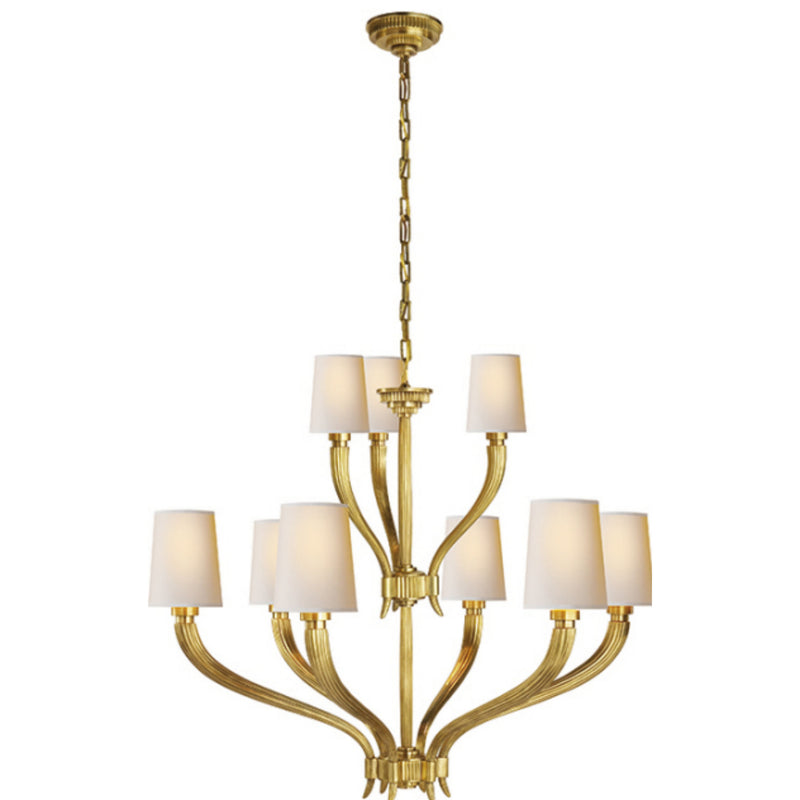 Visual Comfort CHC 2465AB-NP Chapman & Myers Ruhlmann 2-Tier Chandelier in Antique-Burnished Brass