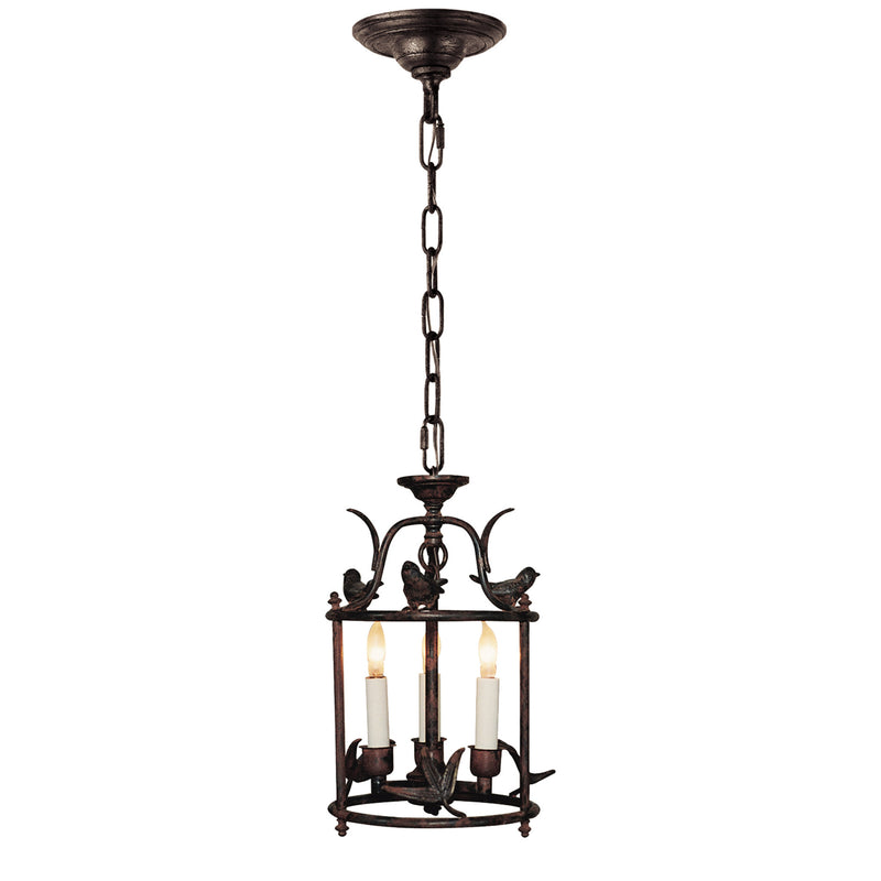 Visual Comfort CHC 3109R Chapman & Myers Diego Petite Classical Perching Bird Lantern in Hand Painted Rust Finish