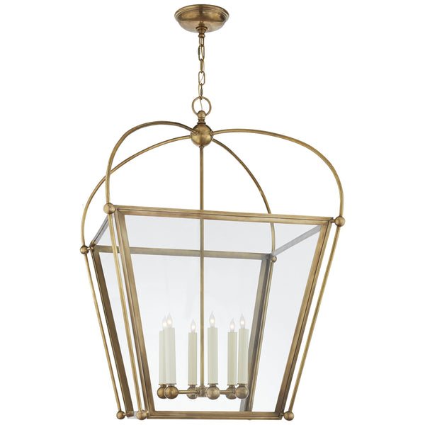 Visual Comfort CHC 3440AB-CG Chapman & Myers Traditional Plantation Large Square Lantern in Antique-Burnished Brass
