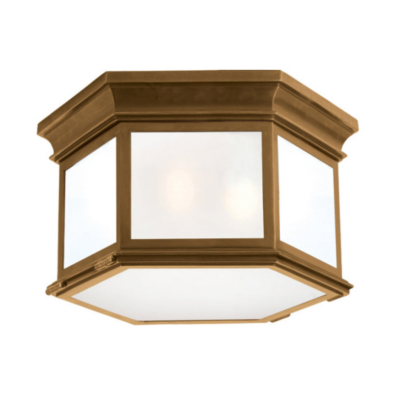 Visual Comfort CHC 4126AB-FG Chapman & Myers Club Large Hexagonal Flush Mount in Antique-Burnished Brass