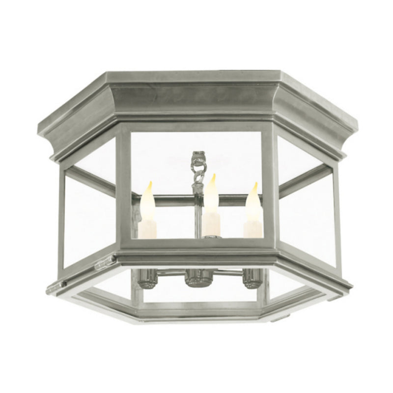 Visual Comfort CHC 4126AN-CG Chapman & Myers Club Large Hexagonal Flush Mount in Antique Nickel