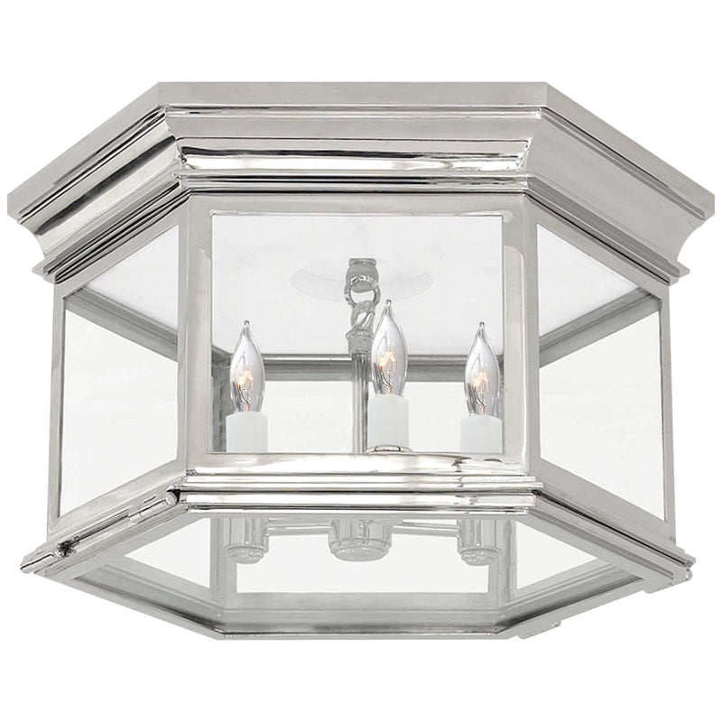 Visual Comfort CHC 4126PN-CG Chapman & Myers Club Large Hexagonal Flush Mount in Polished Nickel