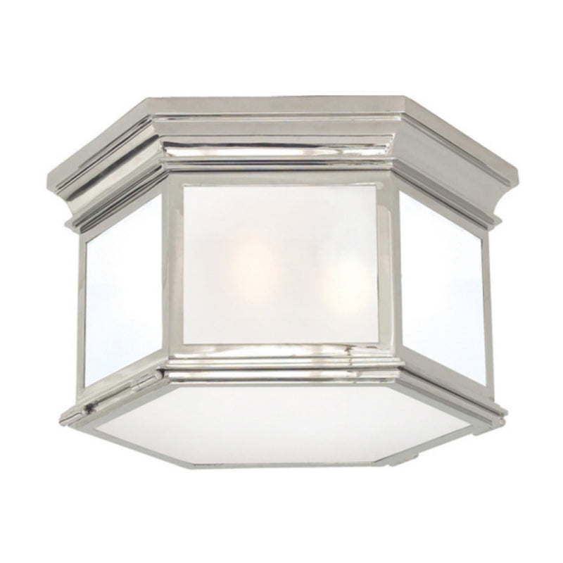 Visual Comfort CHC 4126PN-FG Chapman & Myers Club Large Hexagonal Flush Mount in Polished Nickel