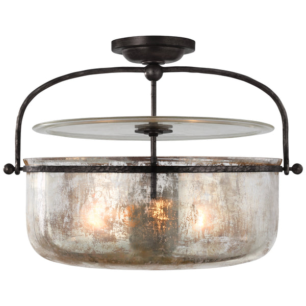 Visual Comfort CHC 4270AI-MG Chapman & Myers Lorford Medium Semi-Flush Lantern in Aged Iron