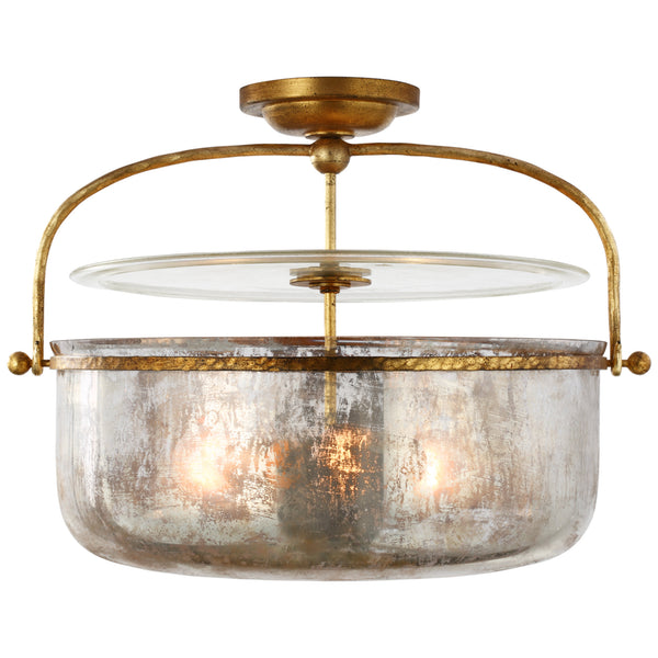 Visual Comfort CHC 4270GI-MG Chapman & Myers Lorford Medium Semi-Flush Lantern in Gilded Iron